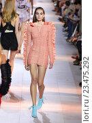Купить «MILAN, ITALY - SEPTEMBER 26: A model walks the runway during the Roberto Cavalli fashion show as part of Milan Fashion Week Spring/Summer 2016 on September 26, 2015 in Milan, Italy.», фото № 23475292, снято 26 сентября 2015 г. (c) Anton Oparin / Фотобанк Лори