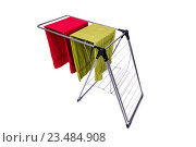 Купить «Collapsible clotheshorse isolated on the white background», фото № 23484908, снято 1 июня 2016 г. (c) Elnur / Фотобанк Лори