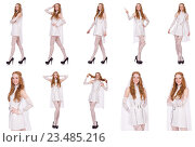 Купить «Pretty lady in light charming dress isolated on white», фото № 23485216, снято 4 декабря 2013 г. (c) Elnur / Фотобанк Лори