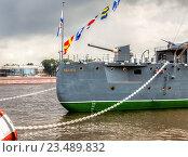 Купить «The legendary revolutionary cruiser Aurora at the place of eternal parking on the Petrograd embankment», фото № 23489832, снято 29 июля 2016 г. (c) FotograFF / Фотобанк Лори