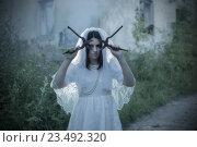 Купить «ghost on background old house», фото № 23492320, снято 16 июля 2016 г. (c) Майя Крученкова / Фотобанк Лори