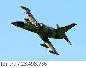 Купить «Самолет Aero L-39C (бортовой RA-1894G) в полете, аэродром Орловка», эксклюзивное фото № 23498736, снято 27 августа 2016 г. (c) Alexei Tavix / Фотобанк Лори