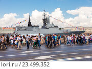 Купить «Warship on the Neva river for Navy day celebration on July 31, 2016 in St. Petersburg, Russia», фото № 23499352, снято 31 июля 2016 г. (c) FotograFF / Фотобанк Лори