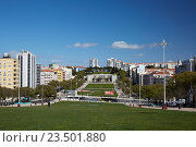 Купить «Lisbon, Portugal, Alameda Afonso Henriques in Avenidas Novas Area», фото № 23501880, снято 5 апреля 2016 г. (c) Caro Photoagency / Фотобанк Лори