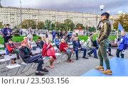 Купить «Кандидат в депутаты член «Партии роста» Ирина Хакамада выступает на встрече с избирателями», эксклюзивное фото № 23503156, снято 18 августа 2016 г. (c) Виктор Тараканов / Фотобанк Лори