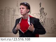 Купить «Man with red cover in super hero concept», фото № 23516108, снято 23 января 2019 г. (c) Elnur / Фотобанк Лори