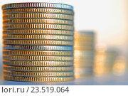 Купить «Монеты, сложенные в столбики», фото № 23519064, снято 10 декабря 2015 г. (c) Сергеев Валерий / Фотобанк Лори