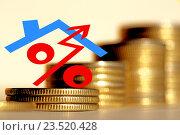 Купить «Красный знак процента на фоне денег», фото № 23520428, снято 24 апреля 2016 г. (c) Сергеев Валерий / Фотобанк Лори