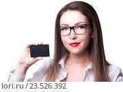Девушка в деловом костюме с черной пластиковой картой в руках. Стоковое фото, фотограф Черепанова Татьяна / Фотобанк Лори