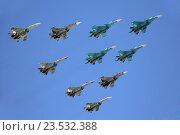 Купить «Группа истребителей СУ-34, СУ-27 и СУ-35С на параде в честь Дня Победы», эксклюзивное фото № 23532388, снято 9 мая 2016 г. (c) Алексей Гусев / Фотобанк Лори