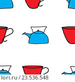 Фон из рисунков чайников и чашек. Стоковая иллюстрация, иллюстратор Сергей Немшилов / Фотобанк Лори