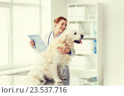 Купить «happy doctor with retriever dog at vet clinic», фото № 23537716, снято 19 июля 2015 г. (c) Syda Productions / Фотобанк Лори