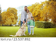 Купить «happy family with labrador retriever dog in park», фото № 23537892, снято 20 сентября 2015 г. (c) Syda Productions / Фотобанк Лори