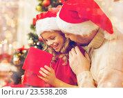 Купить «smiling father and daughter opening gift box», фото № 23538208, снято 26 октября 2013 г. (c) Syda Productions / Фотобанк Лори
