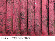 Купить «close up of old red rusty metal flaps», фото № 23538360, снято 27 июня 2016 г. (c) Syda Productions / Фотобанк Лори