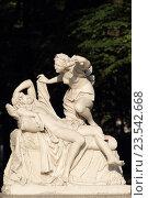 Купить «Скульптура Амур с бабочкой на ноге и Психея, в парке Летнего сада, город Санкт-Петербург», эксклюзивное фото № 23542668, снято 22 августа 2016 г. (c) Дмитрий Неумоин / Фотобанк Лори