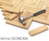 Купить «Laying hardwood parquet concept. Hammer on the floor.», фото № 23542924, снято 8 июля 2020 г. (c) Maksym Yemelyanov / Фотобанк Лори
