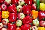 Красный, желтый и оранжевый перец, цитрусы, яблоко, лимон, огурец, фото № 23544672, снято 3 мая 2016 г. (c) Олег Шкуратов / Фотобанк Лори