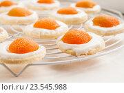 Купить «Печенье в форме яичницы», фото № 23545988, снято 25 ноября 2013 г. (c) Tetiana Chugunova / Фотобанк Лори