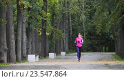 Купить «Молодая женщина бегает в осеннем парке, с гаджетом на руке», видеоролик № 23547864, снято 20 февраля 2018 г. (c) Константин Шишкин / Фотобанк Лори