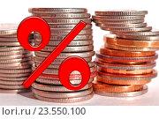 Купить «Красный знак процента на фоне денег», фото № 23550100, снято 13 февраля 2016 г. (c) Сергеев Валерий / Фотобанк Лори