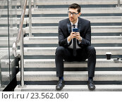 Portrait of handsome businessman outdoor, фото № 23562060, снято 4 апреля 2015 г. (c) Sergey Nivens / Фотобанк Лори