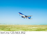 Купить «Baku - AUGUST 27, 2016: Airplane taking off on August 27 in Baku», фото № 23563352, снято 27 августа 2016 г. (c) Elnur / Фотобанк Лори