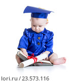 Portrait of cute baby in academic hat with book. Стоковое фото, фотограф Оксана Кузьмина / Фотобанк Лори