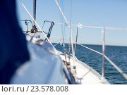 Купить «close up of sailboat or sailing yacht deck in sea», фото № 23578008, снято 18 августа 2015 г. (c) Syda Productions / Фотобанк Лори