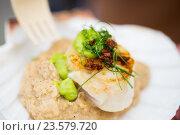Купить «close up of scallop snack with garnish», фото № 23579720, снято 11 июня 2016 г. (c) Syda Productions / Фотобанк Лори