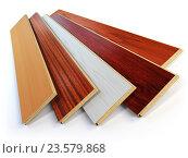 Купить «Parquet o laminate wooden planks of the different colors on white background.», фото № 23579868, снято 8 июля 2020 г. (c) Maksym Yemelyanov / Фотобанк Лори