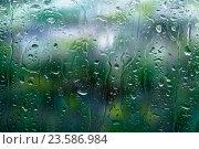Купить «Сине-зелёные цвета за мокрым стеклом», фото № 23586984, снято 10 сентября 2016 г. (c) Mike The / Фотобанк Лори
