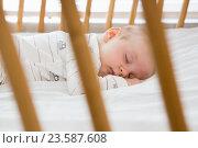 Купить «Baby boy sleeping on a cradle», фото № 23587608, снято 22 января 2016 г. (c) Wavebreak Media / Фотобанк Лори