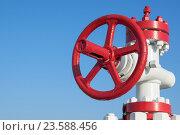 Купить «Газовый вентиль на фоне неба», фото № 23588456, снято 26 сентября 2016 г. (c) Икан Леонид / Фотобанк Лори