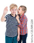 Купить «Девочка говорит мальчику на ухо, белый фон», фото № 23589224, снято 24 сентября 2016 г. (c) Кекяляйнен Андрей / Фотобанк Лори