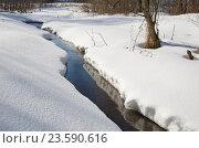 Купить «Зимний пейзаж с речкой», эксклюзивное фото № 23590616, снято 28 февраля 2016 г. (c) Елена Коромыслова / Фотобанк Лори