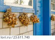 Связки репчатого лука под окном сельского дома. Стоковое фото, фотограф Светогор Александр Романович / Фотобанк Лори