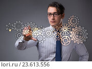 Купить «Businessman with cogwheels gear in teamwork concept», фото № 23613556, снято 28 декабря 2018 г. (c) Elnur / Фотобанк Лори