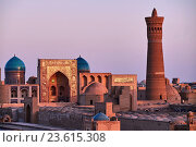 Uzbekistan, Bukhara, Unesco world heritage, Kalon mosque and minaret, Madrasah Mir I Arab. Стоковое фото, фотограф Philippe Michel / age Fotostock / Фотобанк Лори