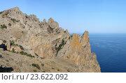 Купить «Скалы Кара-Дага. Крым», фото № 23622092, снято 6 сентября 2016 г. (c) Denis Kh. / Фотобанк Лори