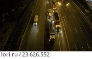 Купить «Aerial view of digging asphalt with tracked machines at night», видеоролик № 23626552, снято 23 сентября 2016 г. (c) Данил Руденко / Фотобанк Лори