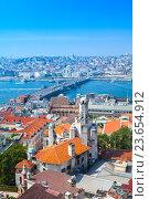 Купить «Istanbul, Turkey. Summer cityscape. Golden Horn», фото № 23654912, снято 1 июля 2016 г. (c) EugeneSergeev / Фотобанк Лори