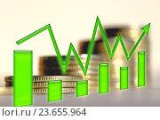 Купить «Зеленый значок стрелка - график на фоне денег», фото № 23655964, снято 12 февраля 2016 г. (c) Сергеев Валерий / Фотобанк Лори