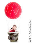 Купить «child on hot air balloon watching through spyglass», фото № 23666556, снято 1 мая 2014 г. (c) Оксана Кузьмина / Фотобанк Лори