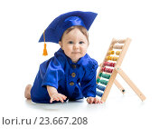 Купить «smiling baby weared academical clothes with counter», фото № 23667208, снято 21 марта 2014 г. (c) Оксана Кузьмина / Фотобанк Лори