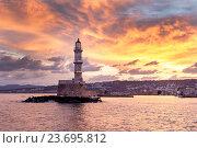 Купить «Знаменитый маяк в городе Ханя (остров Крит, Греция)», фото № 23695812, снято 26 сентября 2016 г. (c) Татьяна Ляпи / Фотобанк Лори