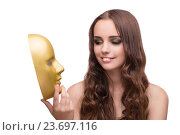 Купить «Young woman with mask isolated on white», фото № 23697116, снято 24 августа 2016 г. (c) Elnur / Фотобанк Лори