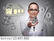 Купить «Businesswoman in real estate mortgage concept», фото № 23697860, снято 21 ноября 2019 г. (c) Elnur / Фотобанк Лори