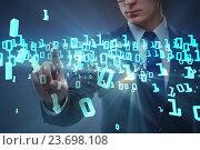 Businessman pressing binary buttons in tech concept. Стоковое фото, фотограф Elnur / Фотобанк Лори