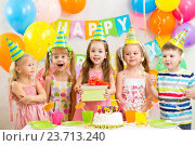 Купить «kids or children on birthday party», фото № 23713240, снято 13 октября 2013 г. (c) Оксана Кузьмина / Фотобанк Лори